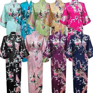 Women Lady High Quality Long Peacock Bride Kimono Robe Satin Dress Bathrobe