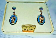 """Blue Cameo Earrings  24k Yellow Gold Painted 1"""" dangle"""