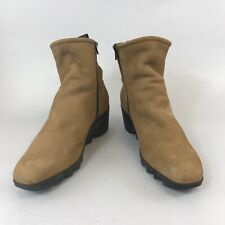 ARCHE5 Brown Leather Nubuck Ankle Platform Zip Up Wedge Lined Boots Size 40 UK7