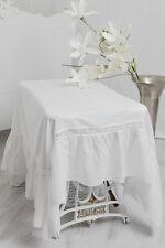 JULIA OFF WHITE TISCHDECKE SPITZE VOLANT LEINEN OPTIK 170x170cm Landhaus Shabby