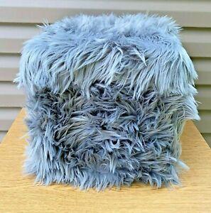"""16"""" Furry Ottoman Foot Stool Gray Faux Fuzzy Pouf Pouffe Modern Seat Storage"""