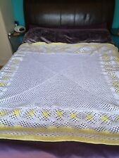 Homemade blanket white and yellow wool 170 x 180. Just finished in lockdown.