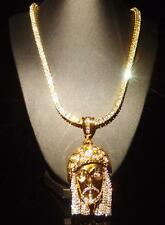 "24""14k Yellow Gold CLEAR CZ Iced Out 1 Row Chain HipHop Necklace With Gold Jesus"
