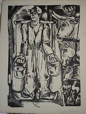 Nikolaas EEKMAN (1889-1973) GRAVURE BOIS ORIGINALE PAYSAN EXPRESSIONNISME 1930