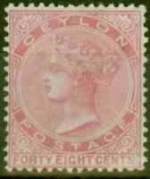 Ceylon 1872 48c Rose SG130 Fine Mtd Mint