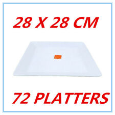 72 LARGE GLOSSY WHITE MELAMINE SQUARE PLATTERS PLATE PARTY FUNCTION KITCHEN FW
