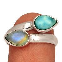 Genuine Larimar - Dominican Republic 925 Silver Jewelry Ring s.9 AR208856 XGB