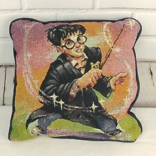 """Harry Potter Tapestry Pillow Harry Casts A Spell HP Magic Wand Ombre 13"""" Inch Sq"""