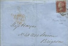 GB QV 1855 WRAPPER PENNY RED STAR 'KJ' TO BRIGHTON 05TH JAN 1855 FISCAL INSIDE