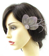 Grey Silver Peacock Feather Fascinator Hair Clip Vtg 1920s Trimmed Bridal 678