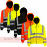 Hi Viz Hoody Mens Safety Hooded Sweatshirt Hoodie Site Uniform Work Fleece Top