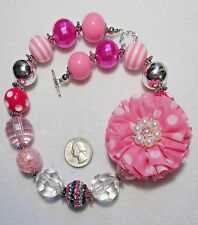 Polka-Dot Flower, Asst'd Stripe/Crackle Beads Fabulous Chunky Necklace, Lg Pink