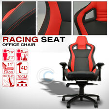 MU Racing Style PVC Leather Bucket Reclinable Seat Chair Black/Red Stitches Cl01