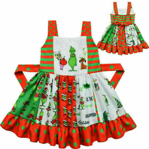 The Grinch Dress Costume Xmas Christmas Kids Girls Party Fancy Dress Gifts New