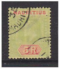 Mauritius - 1910, 5r Green & Red/Yellow stamp - F/U - SG 194