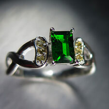 0.7ct Natural Russian Chrome Diopside &yellow sapphires Sterling 925 Silver ring