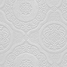 Paintable Wallpaper Ornate Medallions Victorian Heavy 48932