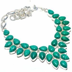 "Malachite Gemstone 925 Sterling Silver Jewelry Necklace 16-18"" S2634"