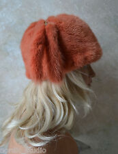GENUINE Russian MINK FUR HAT TURBAN STYLE w Tails,Orange Color Dyed
