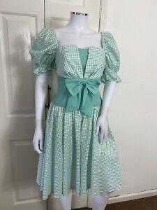 John & Pill Dress UK 12 1980s Green Iridescent Gingham Bo Peep Bow Party Summer