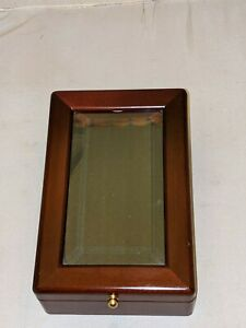 Vintage Wood and Beveled Glass 5 Pen Angled Display Case -  Pen NOT Included