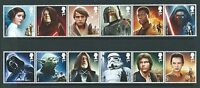 GREAT BRITAIN 2015 STAR WARS SET OF 12 IN STRIPS UNMOUNTED MINT, MNH