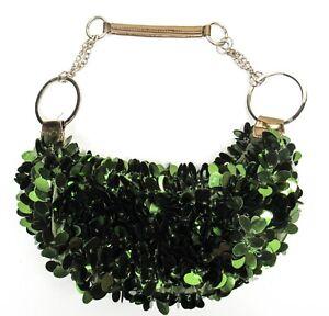 Dark Green Iridescent Sequin Hobo Purse Bag Vintage 90s Y2K Pailette Chain Strap