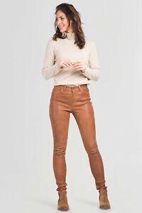 Brand New Women's Real Lambskin Tan Leather Pant Zip Slim Fit Stylish Trouser ZX