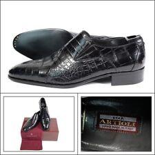 $6300 NIB ARTIOLI Black Italian Hand Made Crocodile Leather Loafers Shoes 12 D