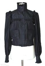 NWT 07C CHANEL Black Taffeta Silk Ruffle JACKET FR-34/36