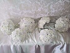 Ivory wedding flower package + diamantes & butterflies inc 6 x bouquets 3 sizes