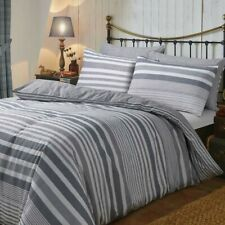Flannel Stripe Bedding -100% Brushed Cotton Duvet Cover and Pillowcase single