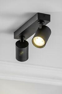 CGC Spotlight Ceiling Lights Twin 2 Black Round Surface Mount Adjustable Heads