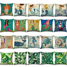 Ocean Mermaid Print Cotton Pillow Case Throw Sofa Waist Cushion Home Decorative