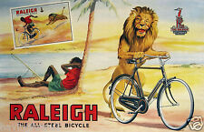 Vintage Raleigh Bicycle Ad Poster England 11 x 17  Giclee print