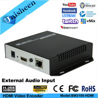 H.264 Video Encoder with EXT Audio Facebook broadcast rtsp IPTV Live Streaming