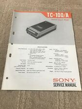 Sony Original Service manual TC-100 / A For Tape Cassette Player