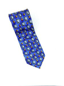 "J. Garcia 100% Silk Tie Geometric Blue with Red Squares 4"" x 60"" Vintage NWOT"