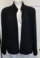 Eileen Fisher Black Rayon/Silk Textured Open Front blazer  Jacket Women's Size M