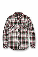 New Men's Jordan Craig Tacoma Flannel Shirt Green-White-Red Size X-Large New!