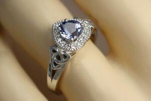 1.50CT Celtic Fanella Heart Shape Alexandrite and CZ Women's 935 Silver Ring