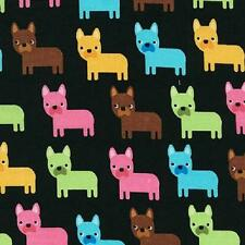 Fat Quarter Urban Zoologie Bright Pugs On Black 100% Cotton Quilting Fabric