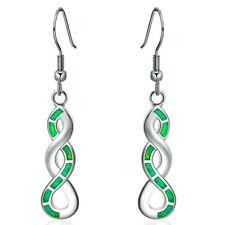 Fire Opal Cz Dangle Hook Earrings Popular Women White Gold Plated Created Green