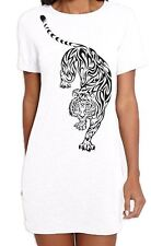 Tribal Tiger Tattoo Large Print Women's T-Shirt Dress - Tigers