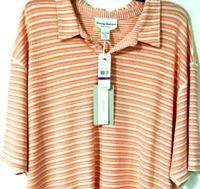 NEW MEN'S TOMMY BAHAMA 2XL POLO SHIRT XXL Striped Peach Casual Golf Top