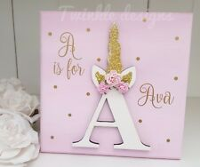 Glitter unicorn personalised girls letter name wooden pink gold plaque sign