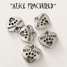 """5 pieces Silver """"Best Friend"""" Paw Heart Charm Dangle Bead USA Seller 1216WL"""