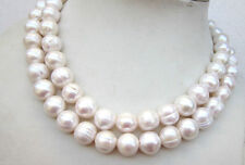 "35""L HUGE 9-10MM SOUTH SEA WHITE BAROQUE PEARLS NECKLACE 14K CLASP"