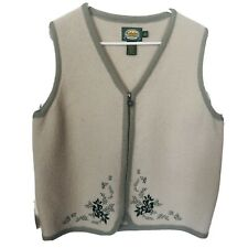 Cabelas Wool Vest Womens Size M Beige Green Zip Front