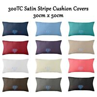 Luxury 300 TC Satin Stripe Cushion Covers 100% Cotton Soft 30cm x 50cm